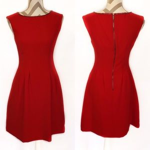 Vince Camuto Fit & Flare Red Holiday Dress Pockets